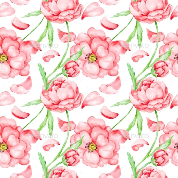 Passion Pattern with Red Flowers - Patterns Decorative