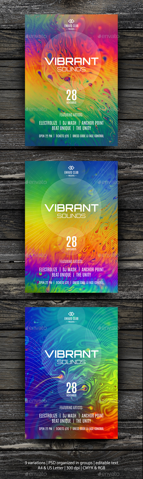 Vibrant Sounds Party Flyer Template - Clubs & Parties Events