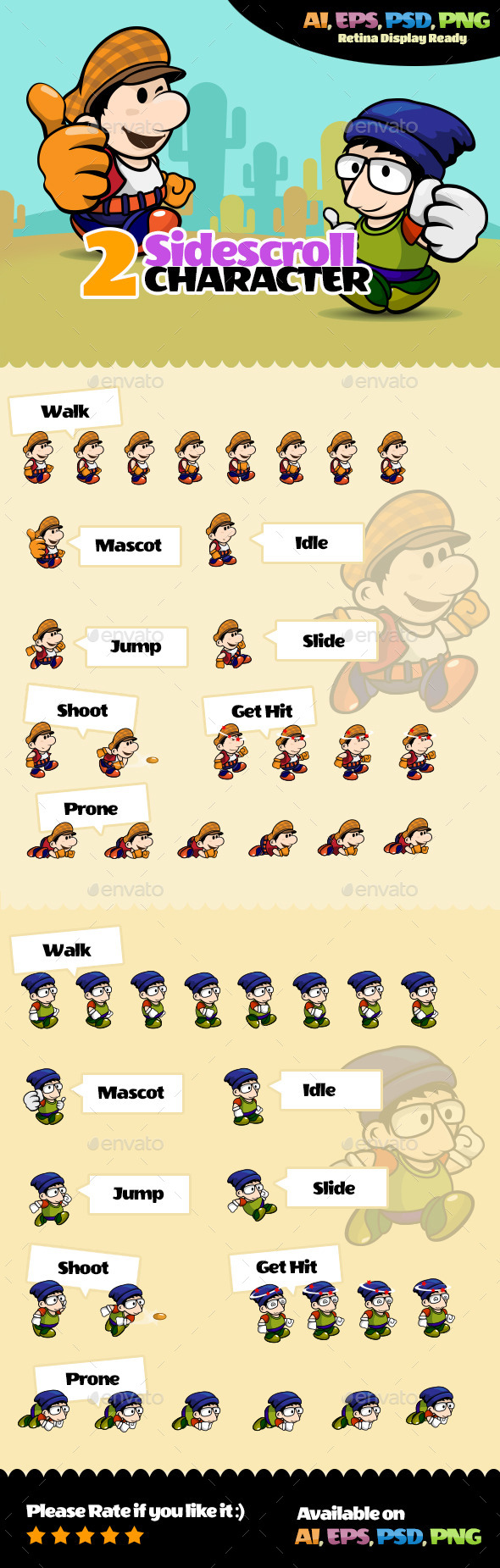 2 Side Scroll Character - Sprites Game Assets