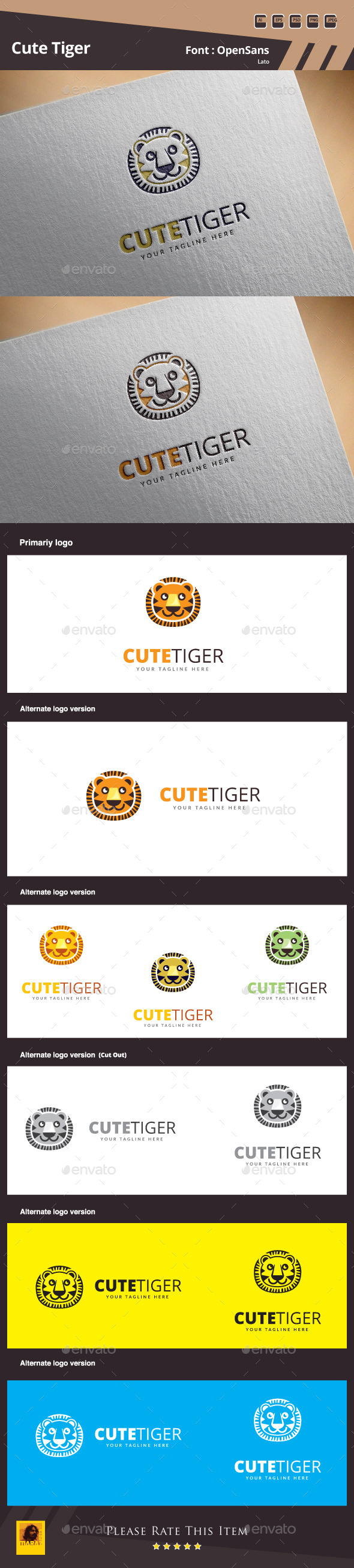 Cute Tiger Logo Template - Animals Logo Templates