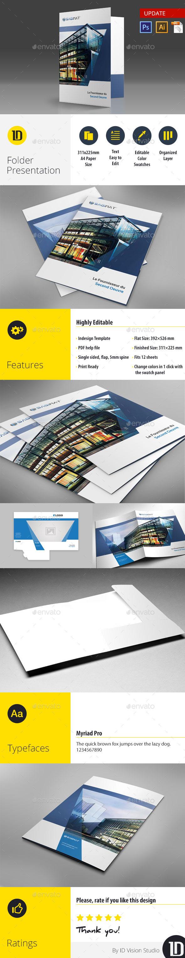 A4 Self Locking Multipurpose Presentation Folder 001 - Stationery Print Templates