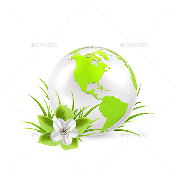 Earth Globe with Flower - Flowers & Plants Nature