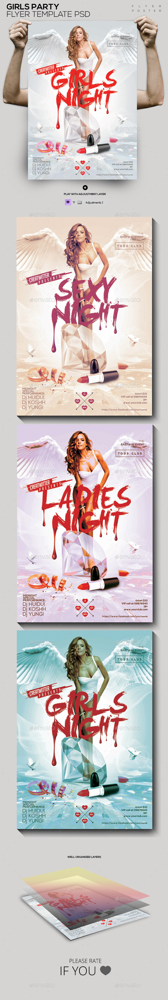 Girls Party Template PSD Flyer/ Poster - Clubs & Parties Events