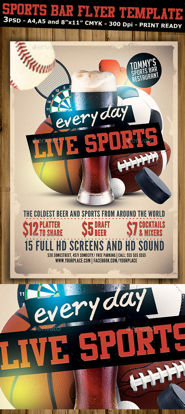 Sports Bar Flyer Template V By Hotpin  Graphicriver