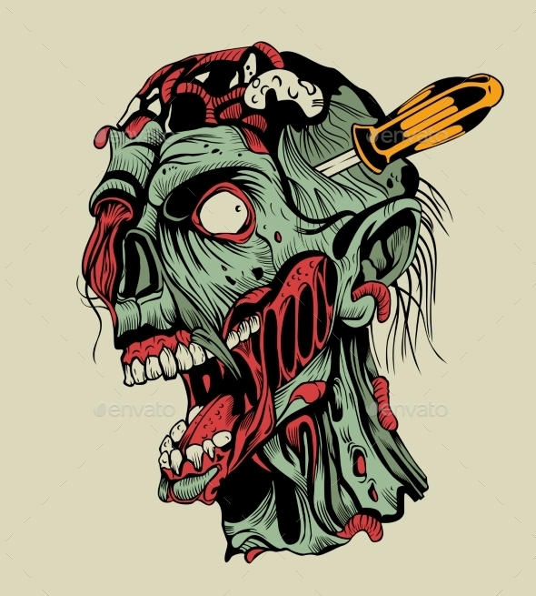 Zombie Head with a Screwdriver - Monsters Characters