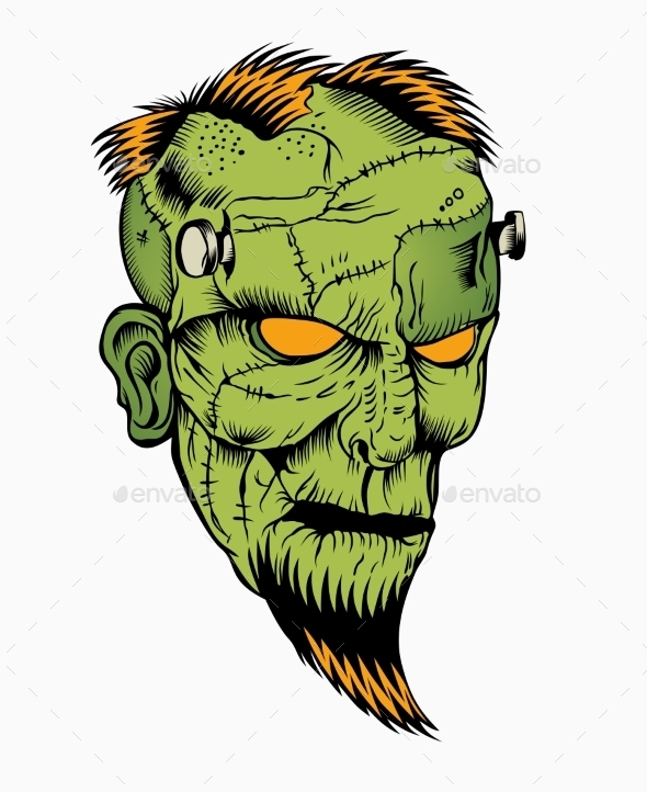 Illustration of Zombie Head - Monsters Characters