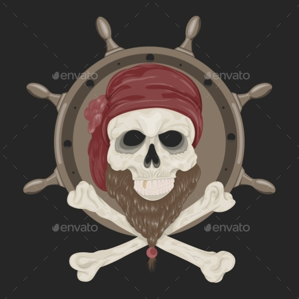 Image Pirate Skull with a Beard - Decorative Symbols Decorative