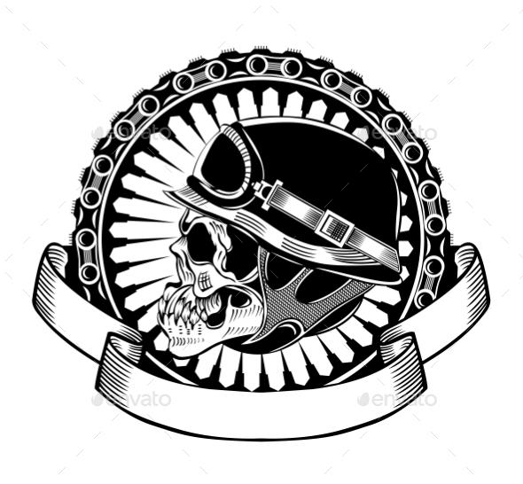 Illustration of Skull with Helmet - Decorative Symbols Decorative
