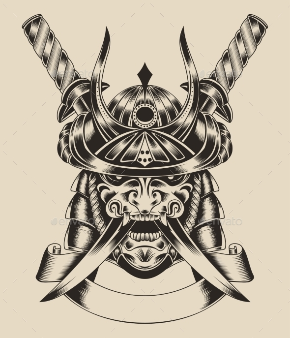 Illustration of mask warrior with swords. - Decorative Symbols Decorative