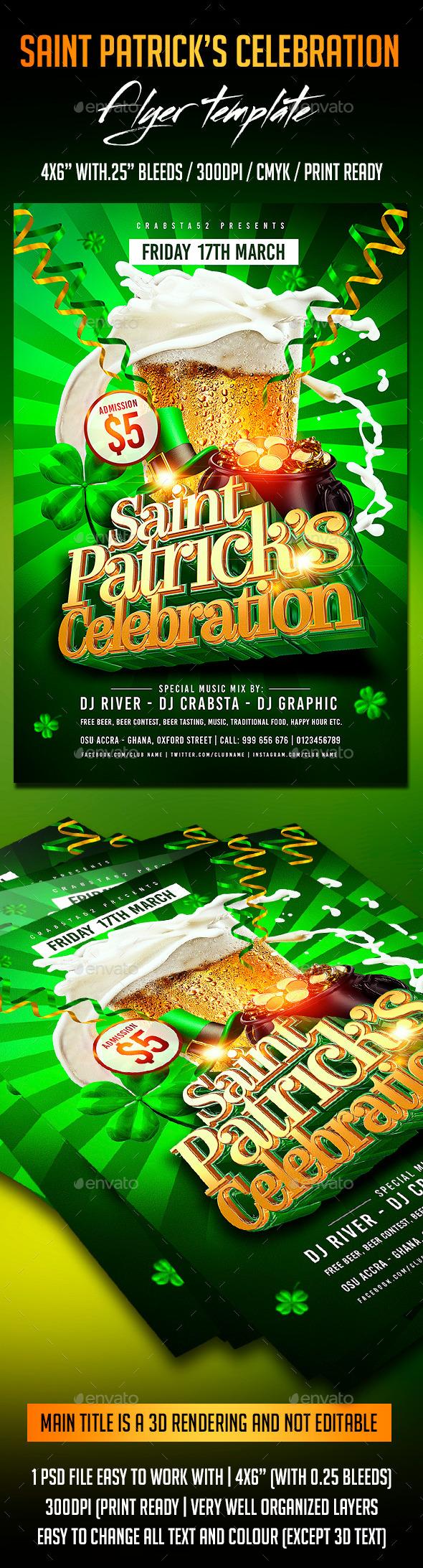 Saint Patrick's Celebration Flyer Template - Events Flyers