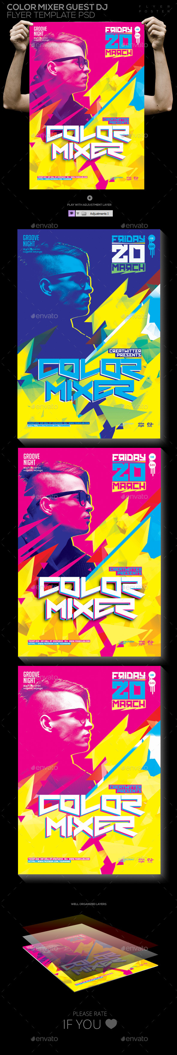 Color Mixer Guest Dj Template PSD Poster/ Flyer - Clubs & Parties Events