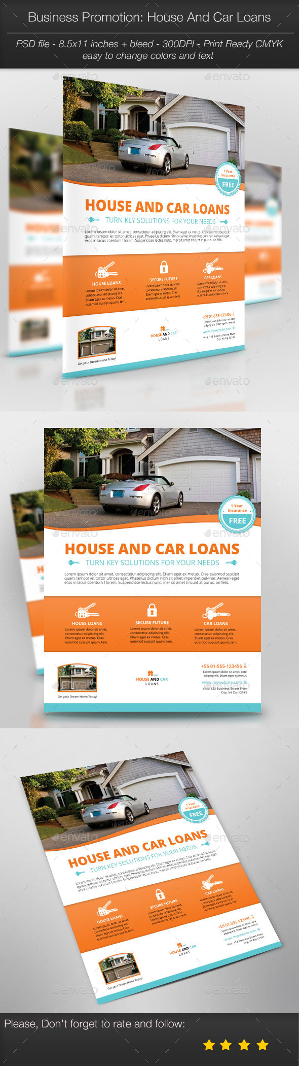Business Promotion: House And Car Loans - Corporate Flyers