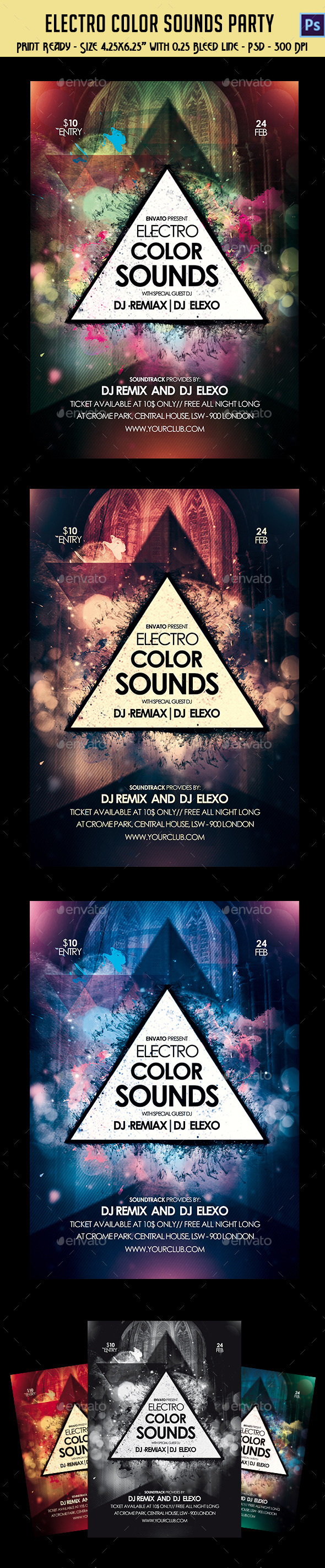 Electro Color Sounds Party Flyer  - Clubs & Parties Events