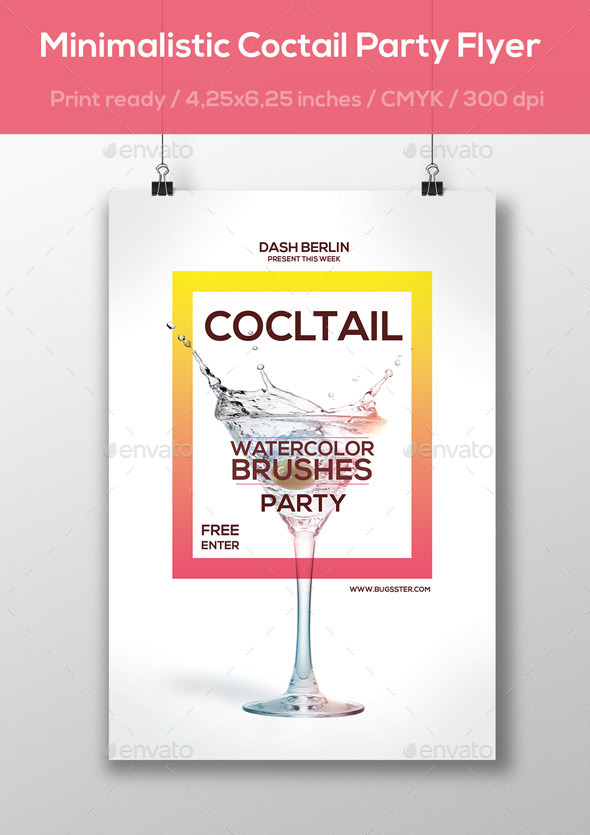 Minimalistic Cocktail Party Flyer - Print Templates