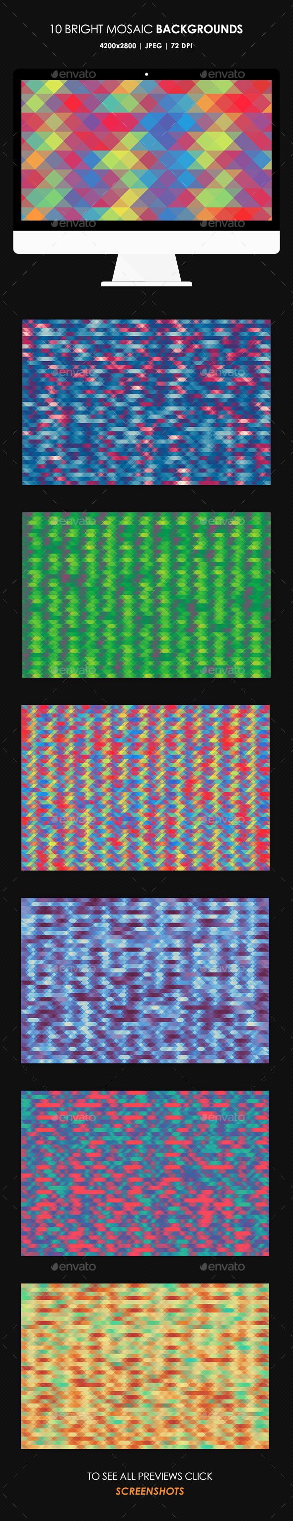Bright Mosaic Backgrounds - Patterns Backgrounds