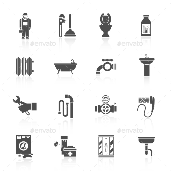 Plumbing Icons Set - Man-made Objects Objects