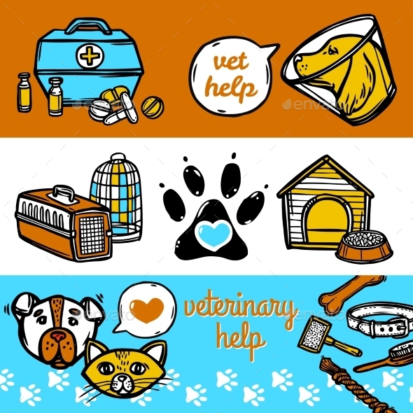 Veterinary Banners Set - Health/Medicine Conceptual