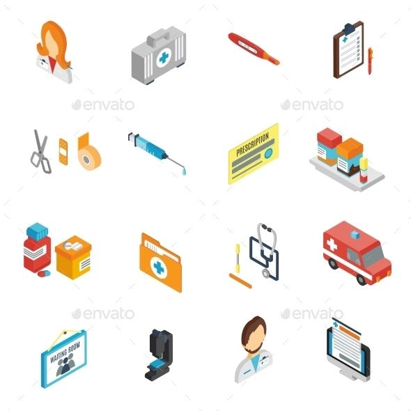 Doctor Icon Isometric Set - Health/Medicine Conceptual
