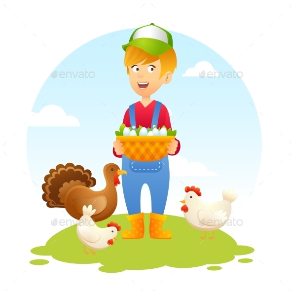 Farmer Woman with Chicken - Nature Conceptual