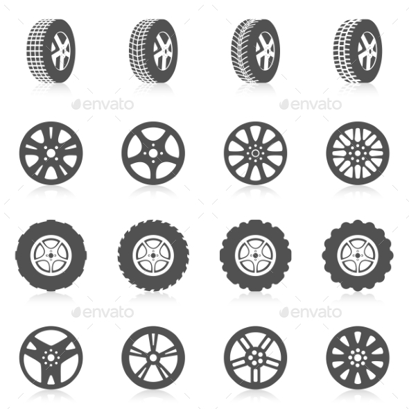Tire Icon Set - Technology Conceptual