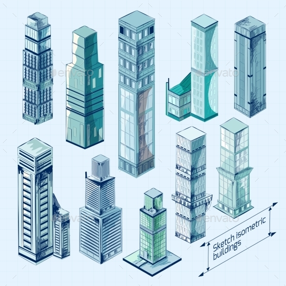 Sketch Isometric Buildings Colored - Buildings Objects