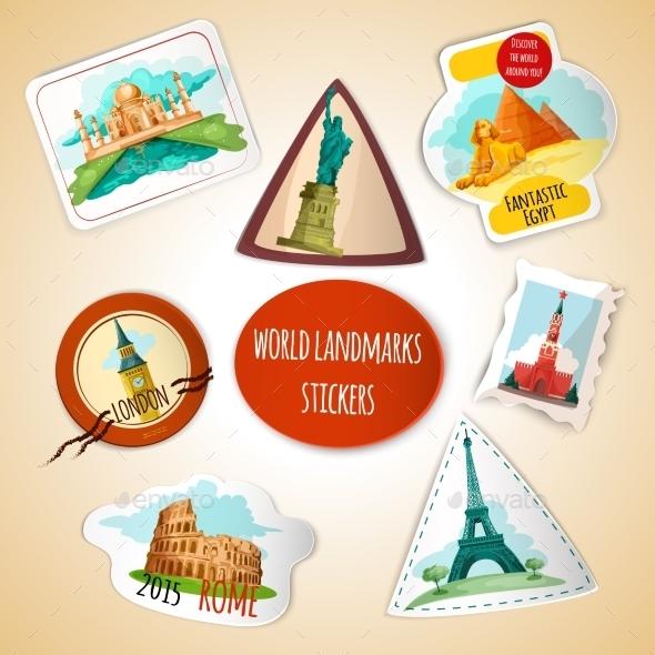 World Landmarks Stickers - Buildings Objects