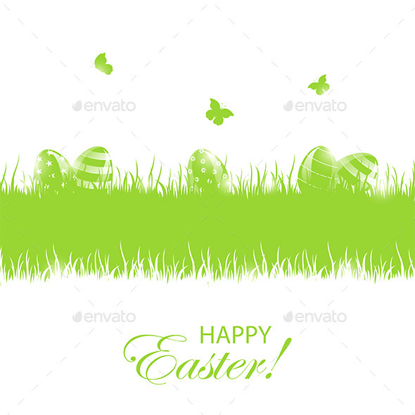 Green Easter Background with Eggs - Seasons Nature