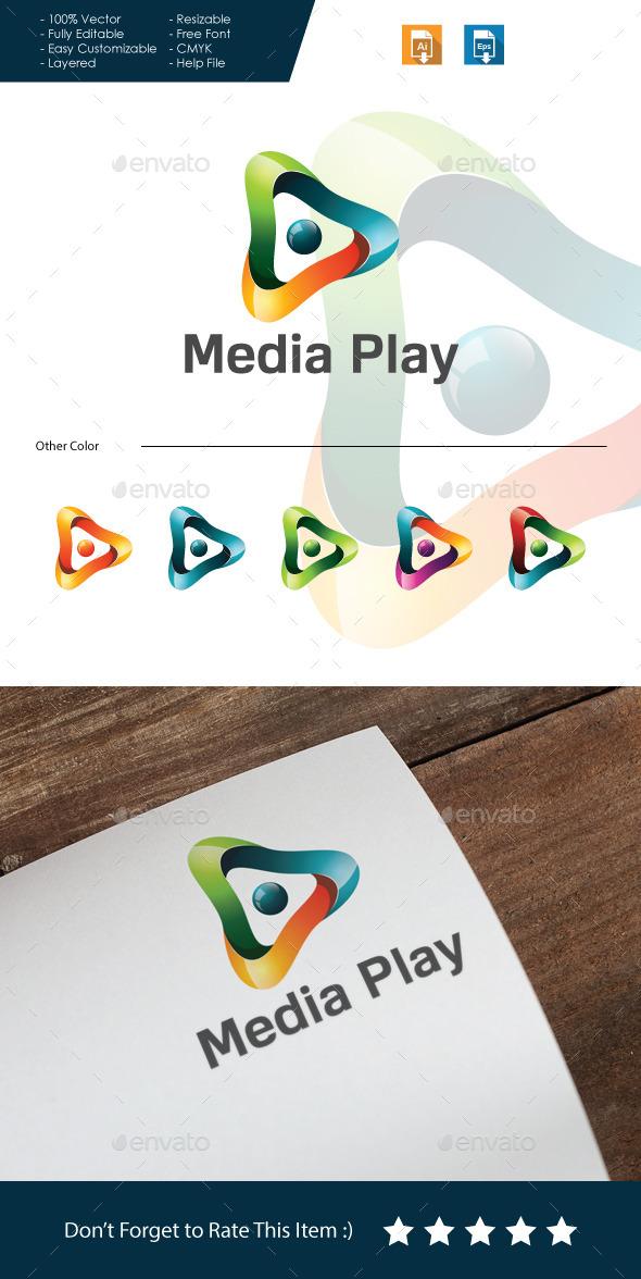 Media Play Logo - 3d Abstract