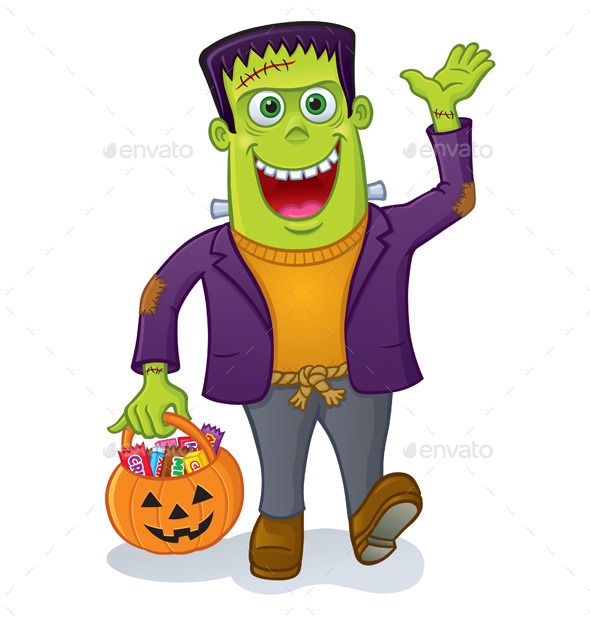 Frankenstein Monster Carrying Pumpkin Pail - Halloween Seasons/Holidays