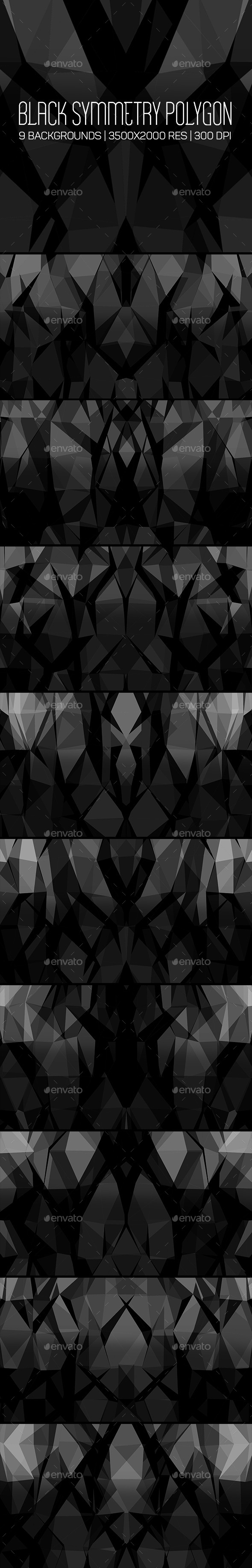 Black Symmetry Polygon Backgrounds - Abstract Backgrounds