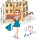 Girl with Shopping Bags on the Street - GraphicRiver Item for Sale