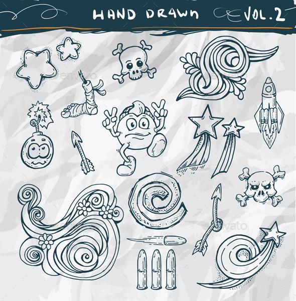 Hand Drawn Doodle Elements - Decorative Symbols Decorative