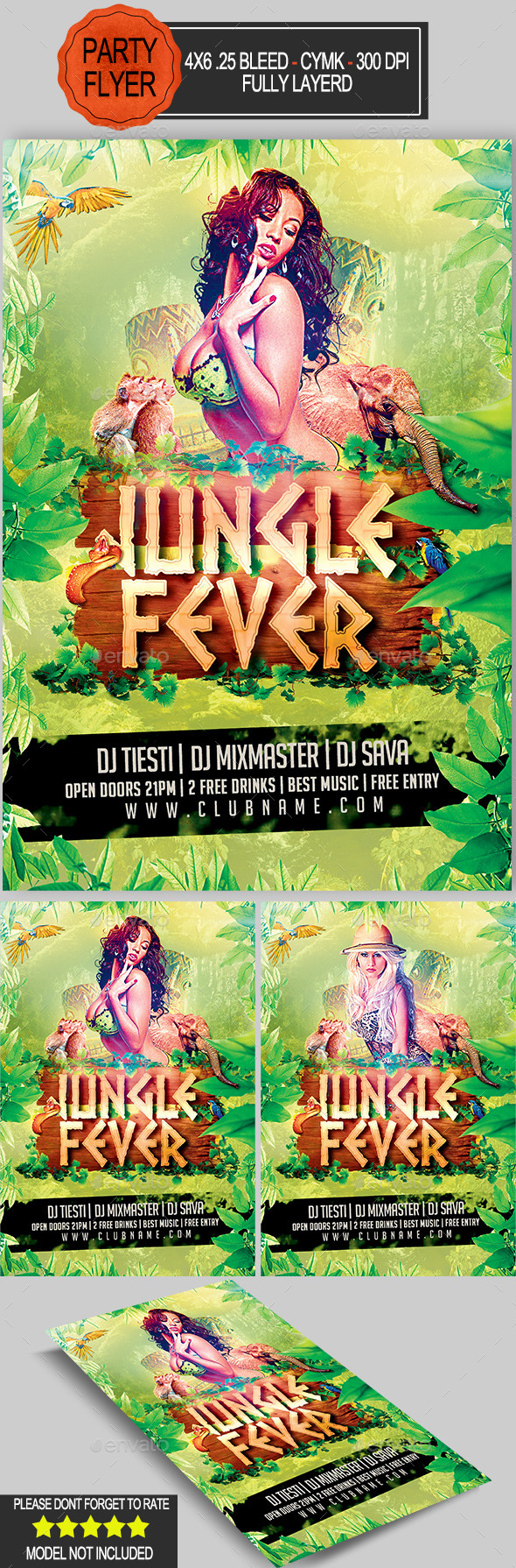 Jungle Fever Flyer   - Clubs & Parties Events