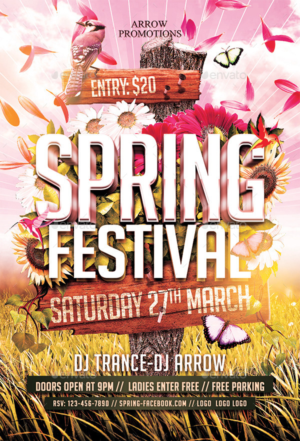 Spring Festival Flyer Template By Arrow  Graphicriver