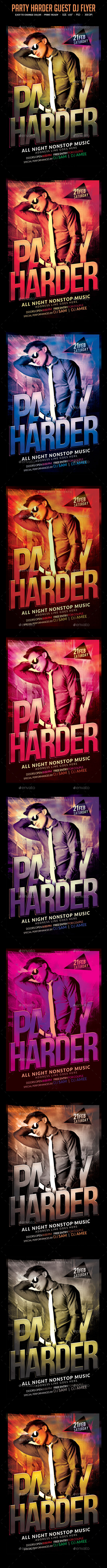 Party Harder Guest Dj Flyer - Clubs & Parties Events