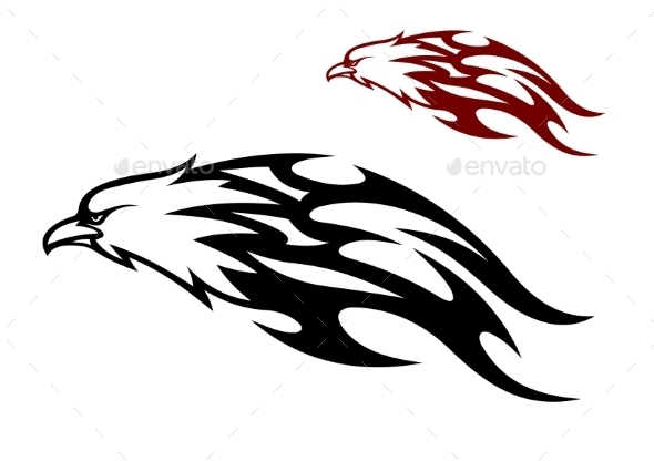 Flying Eagle with Trailing Flames - Tattoos Vectors