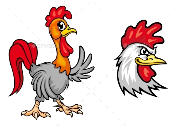 Two Colorful Roosters - Animals Characters