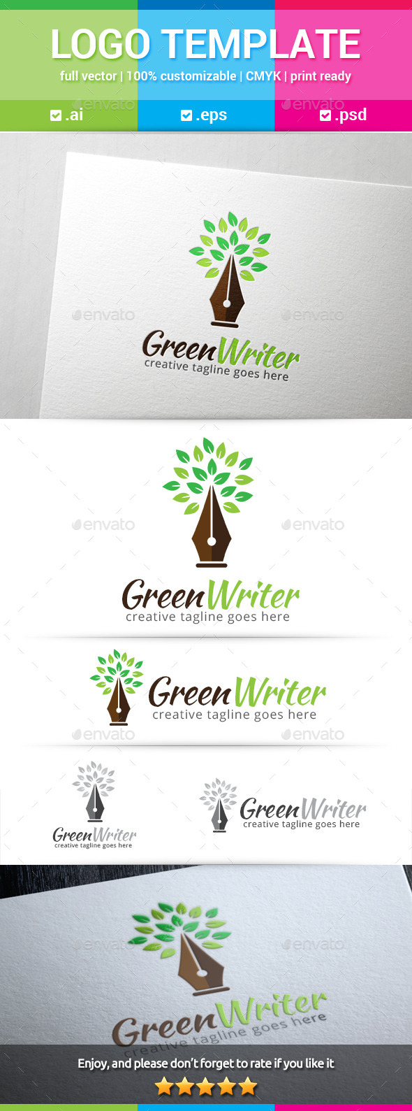 Green Writer Logo - Nature Logo Templates