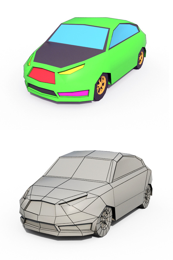 Low Poly Cartoon Car 2 - 3DOcean Item for Sale