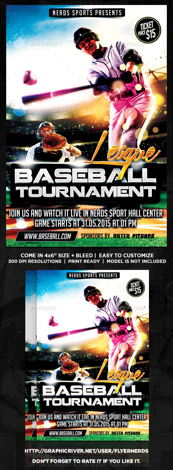 Major League Baseball Tournament Sports Flyer  - Sports Events