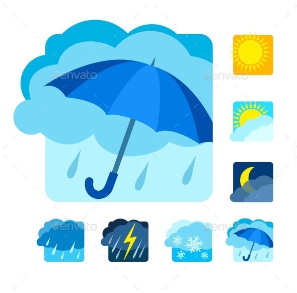 Weather Icons Set - Web Elements Vectors