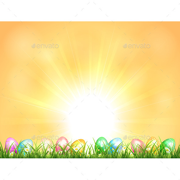 Background with Easter Eggs - Seasons Nature