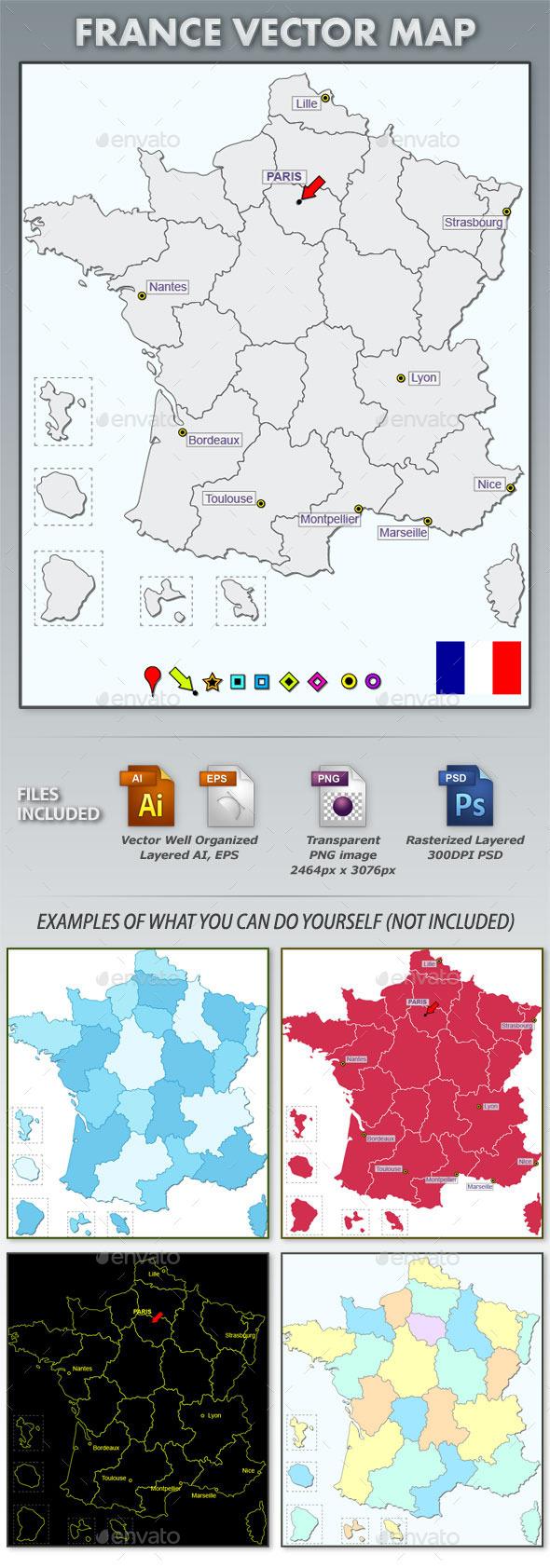 France Layered Vector Map - Web Elements Vectors