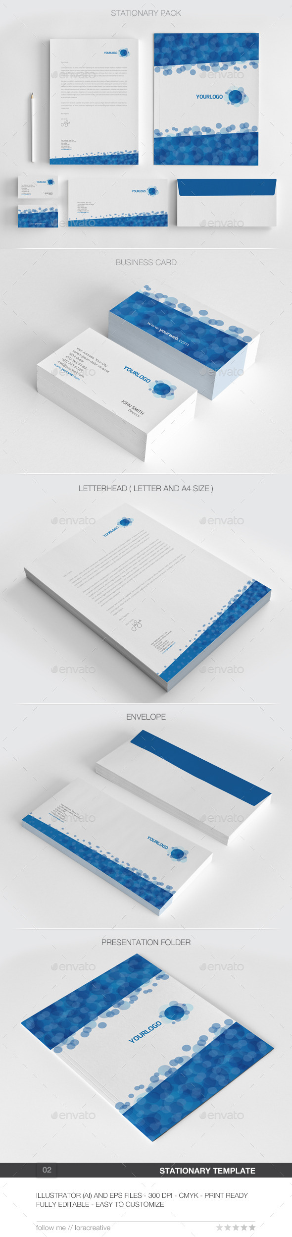 Bubble Concept Stationary Pack - 02 - Stationery Print Templates