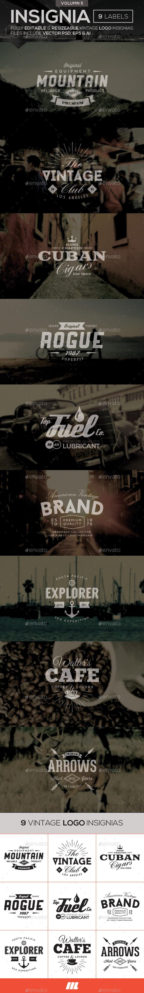 Vintage Logo Insignias Vol 5 - Badges & Stickers Web Elements