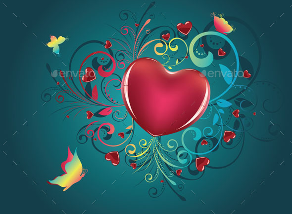 Heart with Floral and Butterflies - Valentines Seasons/Holidays