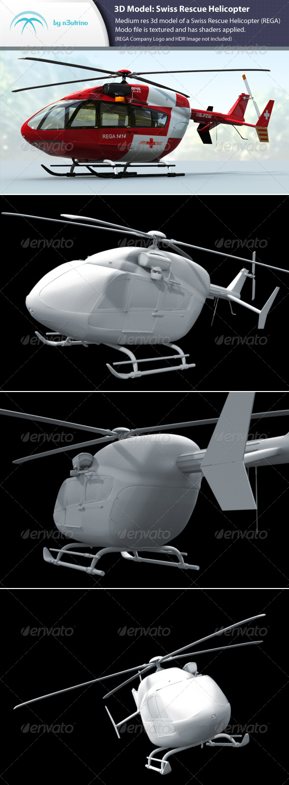 Swiss Rescue Helicopter - 3DOcean Item for Sale