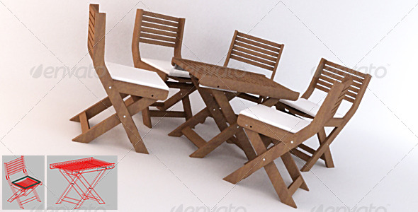 Gentil Garden 02   Small Table + Chairs SET   3DOcean Item For Sale