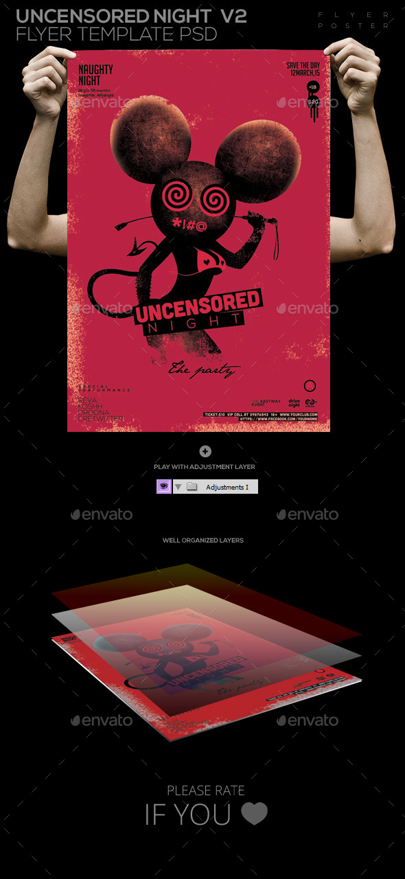Uncensored Night Flyer Template PSD V2 Flyer/ Post - Clubs & Parties Events