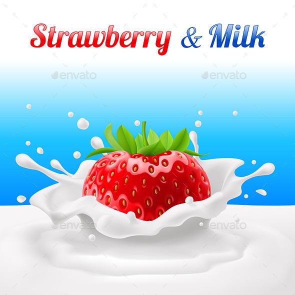 Strawberry in Milk - Food Objects